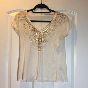 Cream T-shirt w gold